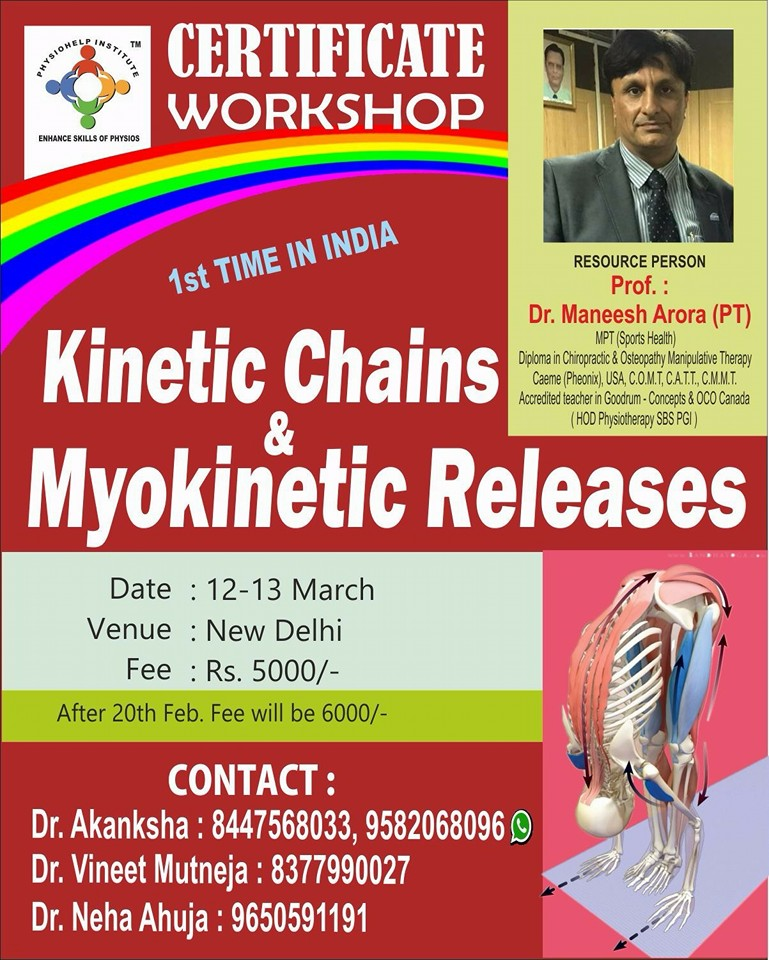coolphysio com | Events | Kinetic Chains & Myokinetic Releases